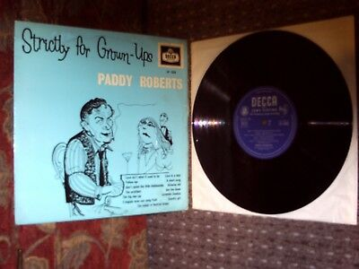 "Paddy Roberts. Strictly For Grown-ups 10"" LP. Decca LF1322. 1959. Exc Vinyl."