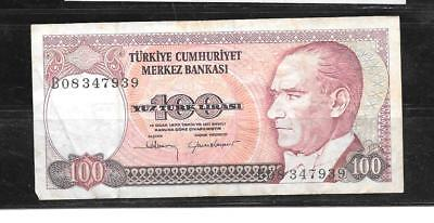 TURKEY #194b 1984 100 LIRA VG USED OLD BANKNOTE PAPER MONEY CURRENCY BILL NOTE