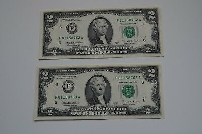 Two $2 Dollar notes Series 1995