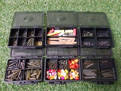 6 Fox bits boxes full of carp fishing end tackle (Korda Avid Nash etc)