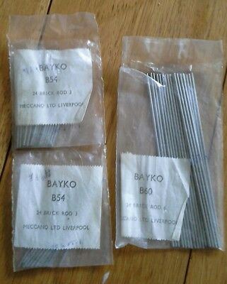 Bayko (Meccano) 69 rods in sealed packs, nos. B54 and B60