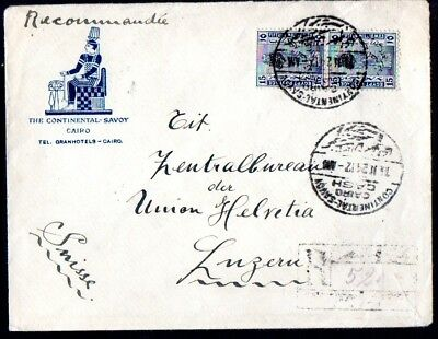Egypt: 1924 reg. Hotel cover to Lucerne from Continental-Savoy Hotel