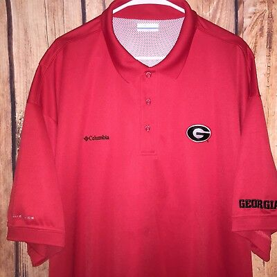 Euc Mens Columbia Pfg University Georgia Vent Poly S/s Fishing Polo Shirt 2Xl