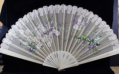 Beautiful Hand Painted Victorian Fan Signed Theatre Productions on each Stick