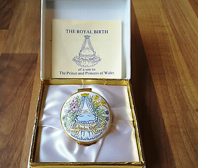 Crummles Enamels Ltd Ed 1984 trinket box for the birth of Prince Harry with COA