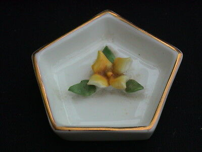 Coalport Bone China. Miniature Pentagonal Dish with Yellow Flower Detail.