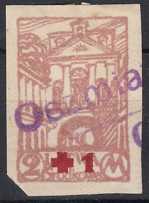 Central Lithuania, Poland, Belarus Red Cross Stamp With Oszmiany Provisional Pmk