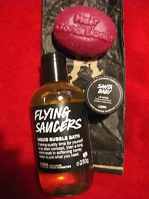 Lush Flying Saucers Bubble Bath, Santa Baby Lipscrub The Plumps Hair Conditioner