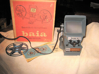 Baia DUAL SUPER 8 Movie Editor Viewer Reviewer 8mm 05200 IN BOX w/Manual WORKING