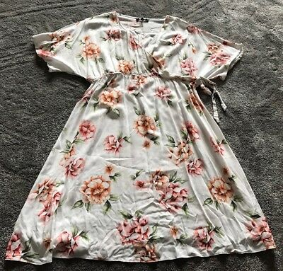 New Look Ladies Maternity Off White Floral Cotton V-neck Dress Size 16