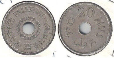 1927 Palestine 20 Mills Coin in Fine to Very Fine Condition ~