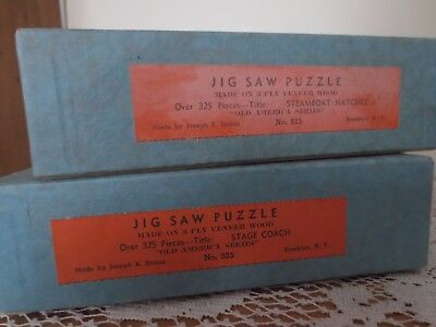 * Vintage Wooden J.k Straus Jig Saw Puzzles * Lot Of 2 * Stage Coach * Steamboat
