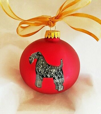 Kerry Blue Terrier Dog Hand Painted Glass Christmas Ornament - with Name