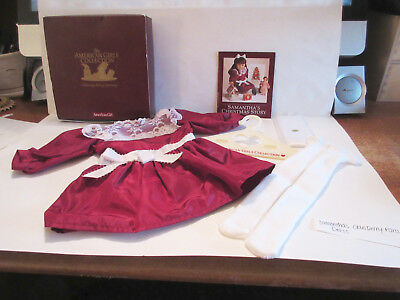 American Girl Samantha's Cranberry Party Dress in Box with Tights  & Ribbon