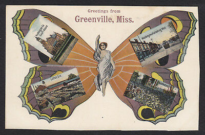 Greenville-Mississippi-Butterfly-Multi View-PCK-Antique Postcard-Trimmed
