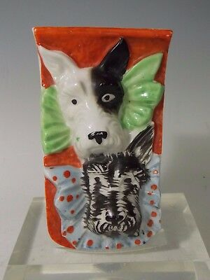 Vintage Lustreware Scotty Dog Wall Pocket Vase Sconce Hand Painted Japan