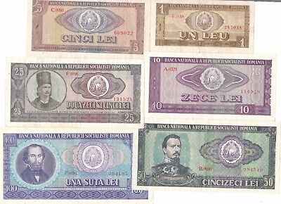 Romania Banknote - A set of 6 x Lei notes from 1966