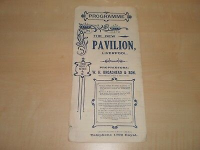 July 1910 Liverpool New Pavilion Theatre Fold-Out Programme With Local Adverts