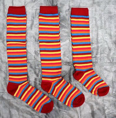90 Pairs Girls Long Striped Socks Knee High Red Cotton Rich  Wholesale Job Lot