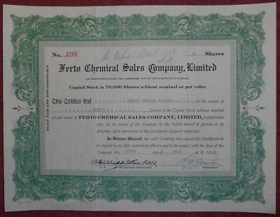 31300 CANADA 1925 Ferto Chemical Sales 20 shares certificate