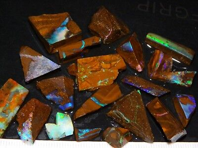 Nice Rough/Rubbed/Sliced Boulder Opal Parcel 145cts Queensland Australia. Fires