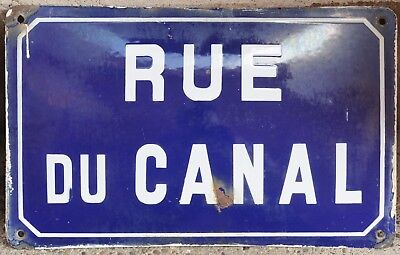 Old blue French enamel steel street sign plate road name plaque Canal Burgundy