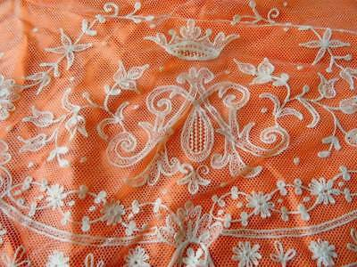 An Exquisite Victorian Tambour lace Panel Initials 'Marie Antionette'
