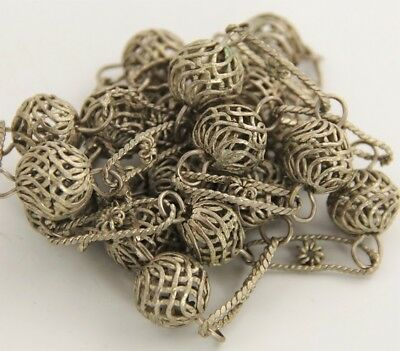 """VINTAGE Jewelry MEXICAN WEDDING FILIGREE BEAD PAPER CLIP CHAIN NECKLACE - 28"""""""