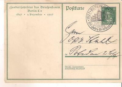 25121 Germany 1927 stationery PPC (Early Postman) with 100 yr Briefpost cancel