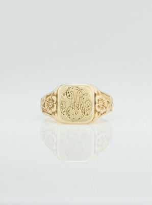 Art Nouveau French Gold Pansy Flower Signet Ring