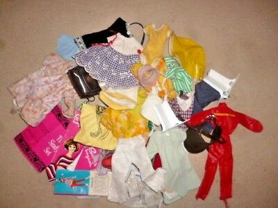 Mixed Lot Of Vintage Dolls Clothes And Other Items, ? Sindy Sandle And Lampshade