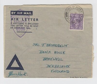 WW2 Blue Triangle Air letter 1944 to Bakewell Derbyshire FPO 214 Italy - CMF