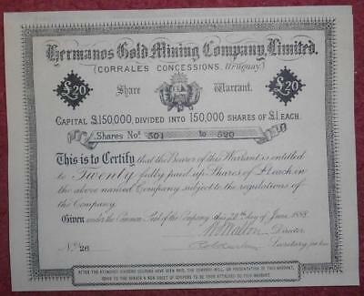 31104 URUGUAY 1888 Hermanos Gold Mining-Corrales Concessions share Warrant