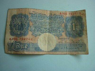 BANK OF ENGLAND - PEPPIATT BLUE & PINK WWII ISSUE £1 NOTE - A92E 722712 - P367a