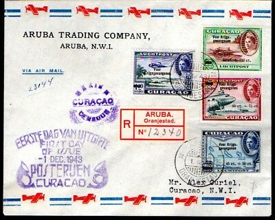 Aruba: 1943 Reg. Airmail War Fund FDC censored to Curaco from Oranjestaad