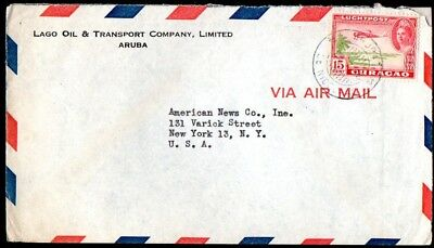 Aruba: 1947 Airmail cover to New York from St. Nicolaas