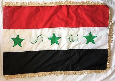 "Original OIF Operation Iraqi Freedom Captured Blood Stained Iraqi Flag 28"" x 43"""