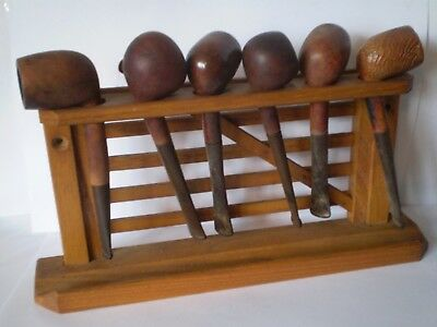 Joblot Of Vintage Smoking Pipes.....with Gate Display Holder