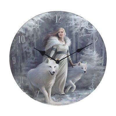 WINTER GUARDIANS Anne Stokes Wolf Fairy Wall Clock wolves faery faerie