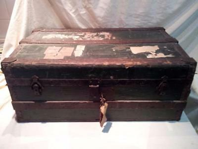 "Antique  Trunk With Wood Binding , Great For Coffee Table + Storage 33""x19""x13"""