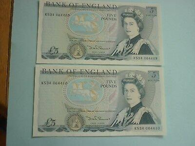 BK OF ENGLAND - 2 x SOMERSET £5 NOTES WITH CONSEC SERIAL NOS - P378c - XF+/AUNC