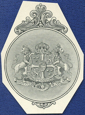 AMERICAN BANK NOTE Co. ENGRAVING: 180c COAT OF ARMS OF SWEDEN