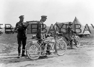 WW1 Motorcycle Dispatch Riders with Carrier Pigeons  World War One Photograph