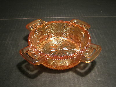 Unusual Old Antique European 4 Handled Carnival Glass Bowl