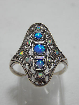 Sterling Silver .925 Multi-Opal .50ct Victorian Deco Style Shield Ring Size 7.75