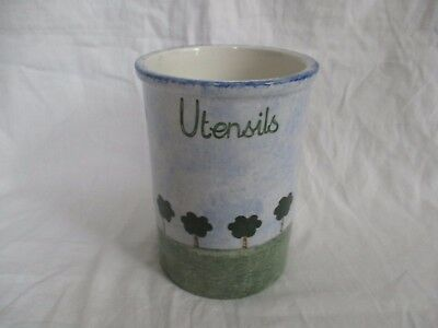 A Price Kensington Pottery Utensils Holder Hand Painted with Blue Clouds & Trees
