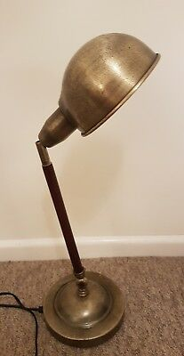 Vintage Retro Desk Lamp Brass Shade And Base With Wooden Arm
