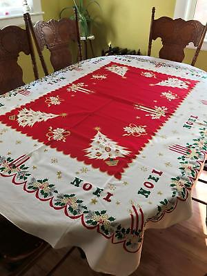 Vintage Mid Century Modern Christmas Tablecloth!