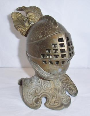 UNUSUAL ANTIQUE BRASSED INKWELL KNIGHT IN ARMOURED HELMET with FEATHER PLUMES