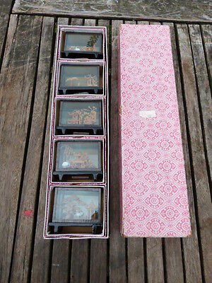 Lovely Collection Of Five Vintage Boxed Chinese Glass Cased Dioramas.unused.